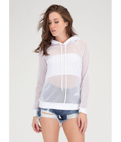 Imbracaminte Femei CheapChic Just For Sport Netted Mesh Hoodie White