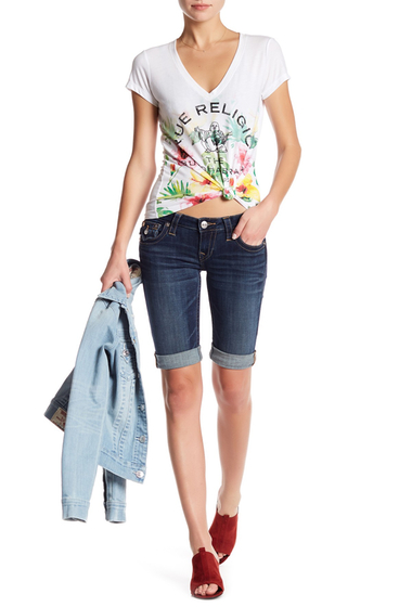 Imbracaminte Femei True Religion Knee Length Denim Shorts DARK SUMME