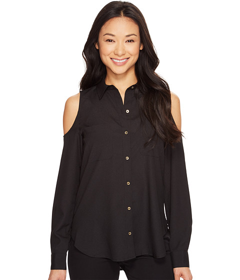 Imbracaminte Femei Calvin Klein Long Sleeve Cold Shoulder Button Down Blouse Black