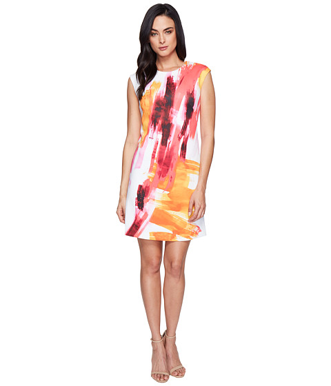 Imbracaminte Femei Calvin Klein Cap Sleeve A-Line Dress in Brush Stroke Print CD6M7L8U Pink Multi