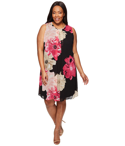 Imbracaminte Femei Calvin Klein Plus Size Printed Inverted Pleat Dress BlackRose Combo