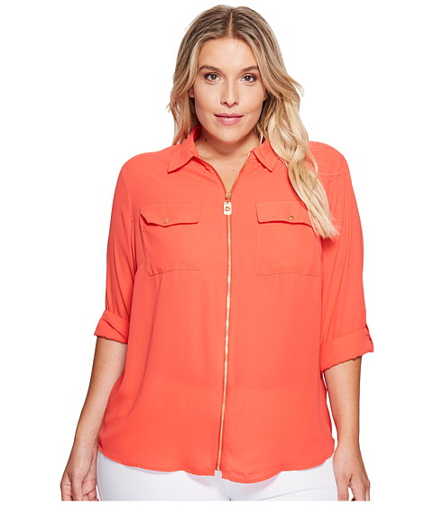 Imbracaminte Femei MICHAEL Michael Kors Plus Size Dog Tag Zip Top Coral Reef