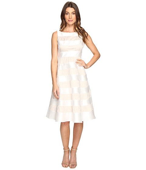 Imbracaminte Femei Adrianna Papell Striped Lace amp Mikado Cocktail Dress Ivory