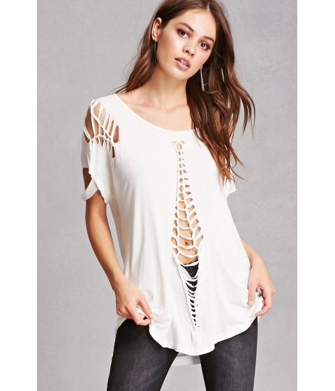 Imbracaminte Femei Forever21 Relaxed Cutout Tee Ivory