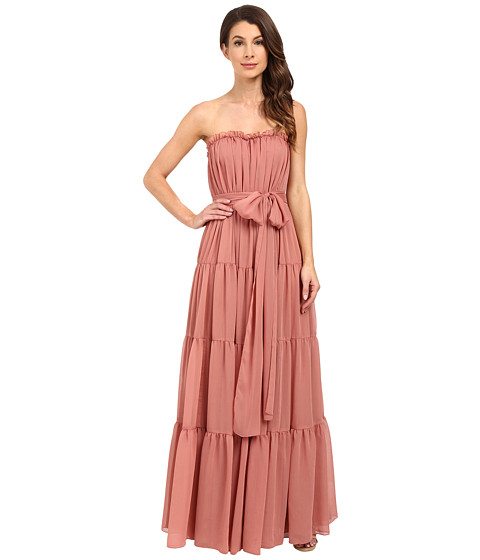 Imbracaminte Femei Jill Jill Stuart Strapless Crinkle Chiffon Gown w Tie at Waist Desert Rose