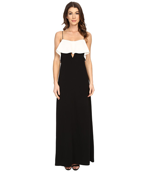 Imbracaminte Femei Jill Jill Stuart Spagetti Strapped Front Ruffled with Peekaboo Front Cut Out Gown BlackOff-White