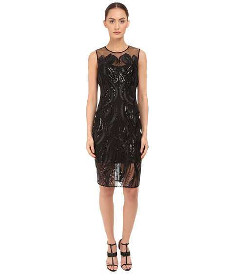 Imbracaminte Femei Marchesa Sleeveless Cocktail with Sequin and Ribbon Embroidery Black