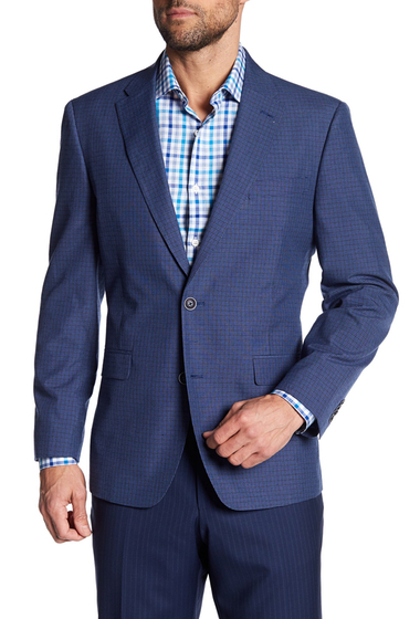 Imbracaminte Barbati Tommy Hilfiger Blue Notch Lapel Two Button Checkered Plaid Sport Coat BLUE