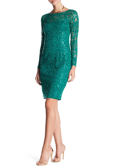 Imbracaminte Femei Marina Long Sleeve Lace Sequin Dress EMERALD