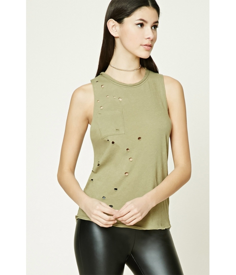 Imbracaminte Femei Forever21 Distressed Pocket Tank Top Olive
