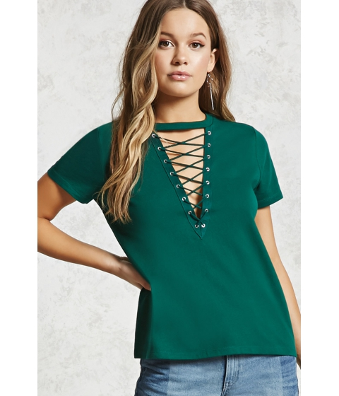 Imbracaminte Femei Forever21 Lace-Up Boxy Tee Green