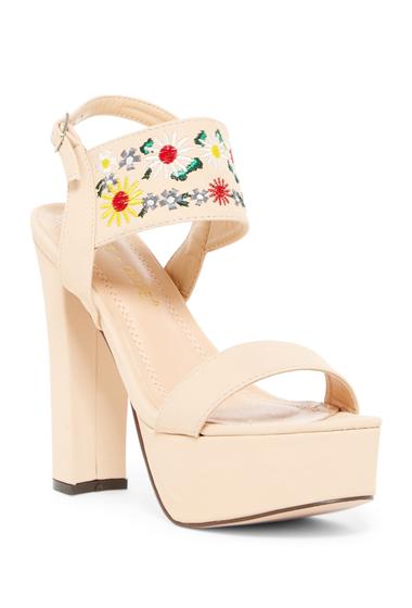 Incaltaminte Femei Chase Chloe Cali Embroidered Block Heel Sandal NUDE