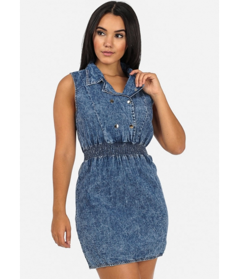 Imbracaminte Femei CheapChic Double Breasted Dress with Banded Waist (Dark Acid Wash) Multicolor