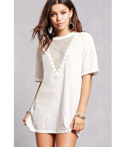 Imbracaminte Femei Forever21 Plunging Netted T-Shirt Dress White