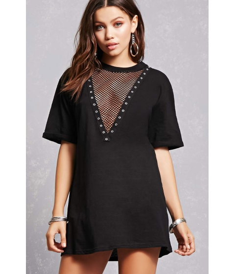 Imbracaminte Femei Forever21 Plunging Netted T-Shirt Dress Black