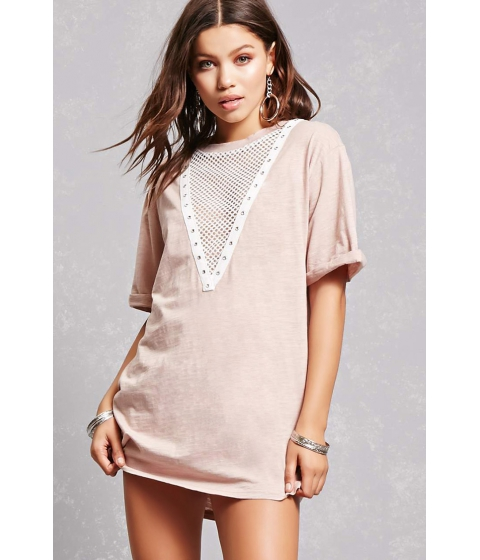 Imbracaminte Femei Forever21 Plunging Netted T-Shirt Dress Pink