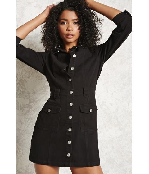 Imbracaminte Femei Forever21 Denim Button-Up Dress Black