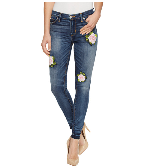 Imbracaminte Femei Hudson Nico Mid-Rise Ankle Super Skinny with Released Hem Five-Pocket Jeans with Rose Applique in Social Scene Social Scene