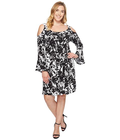 Imbracaminte Femei Karen Kane Plus Size Cold Shoulder Flare Sleeve Dress Print