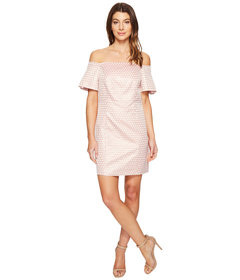 Imbracaminte Femei Laundry by Shelli Segal Off the Shoulder Metallic Dot Jacquard Shift Dress Hot Pink