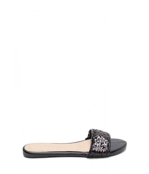 Incaltaminte Femei CheapChic Style Icon Shiny Sequin Slide Sandals Black