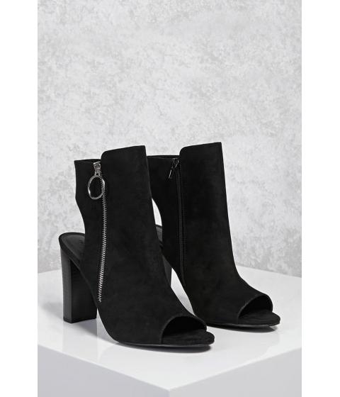 Incaltaminte Femei Forever21 Open-Heel Faux Suede Boots Black