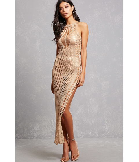 Imbracaminte Femei Forever21 Sheer Geo Maxi Dress Taupe