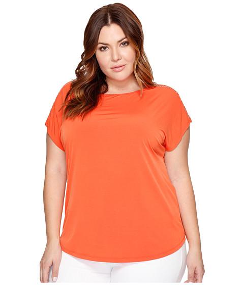 Imbracaminte Femei MICHAEL Michael Kors Plus Size Metal Ball Chain Short Sleeve Tee Mandarin