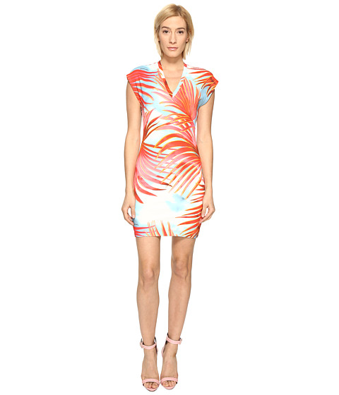 Imbracaminte Femei Just Cavalli Palm Print Fitted Short Sleeve Dress Fire Variant