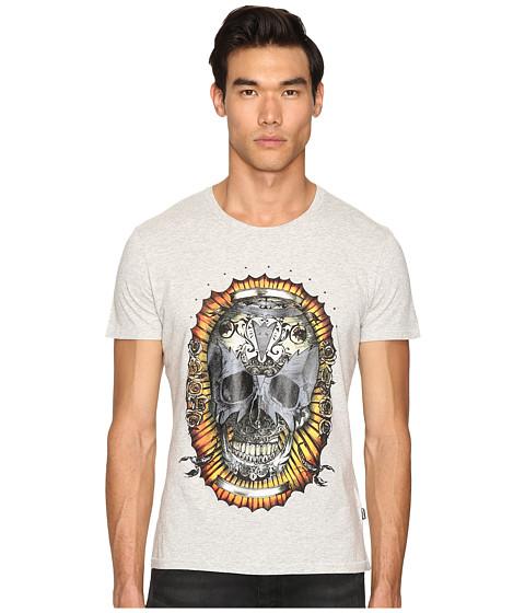Imbracaminte Barbati Just Cavalli Wreath Skull T-Shirt Grey Melange