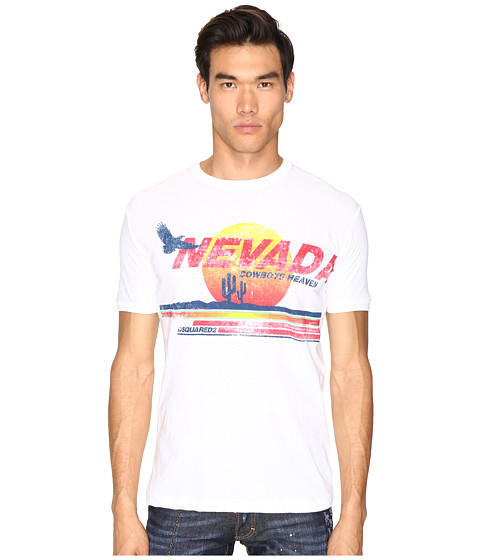 Imbracaminte Barbati DSQUARED2 Nevada Cowboy Heaven T-Shirt White