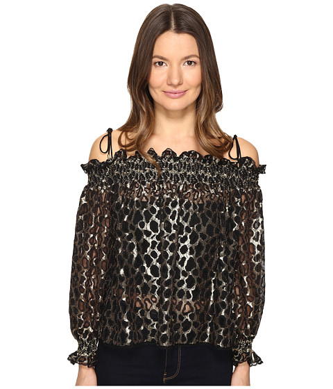 Imbracaminte Femei Just Cavalli Off the Shoulder Printed Long Sleeve Top Gold