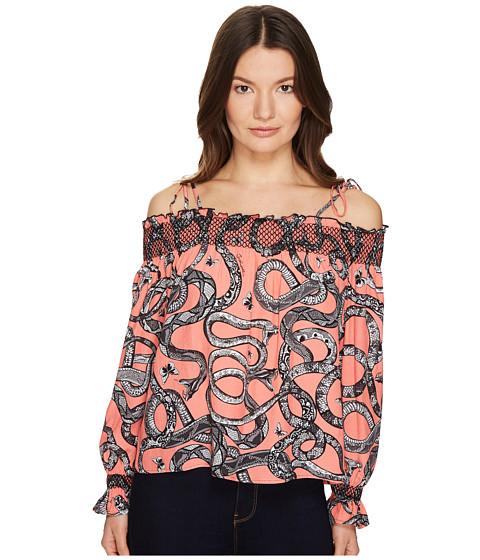 Imbracaminte Femei Just Cavalli Off the Shoulder Printed Long Sleeve Top Pop Pink Variant