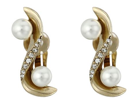 Bijuterii Femei Oscar de la Renta Pave Wave Pearl Crawler C Earrings Light Gold