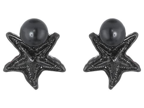Bijuterii Femei Oscar de la Renta Pave Sea Star Pearl Button P Earrings Gun Metallic