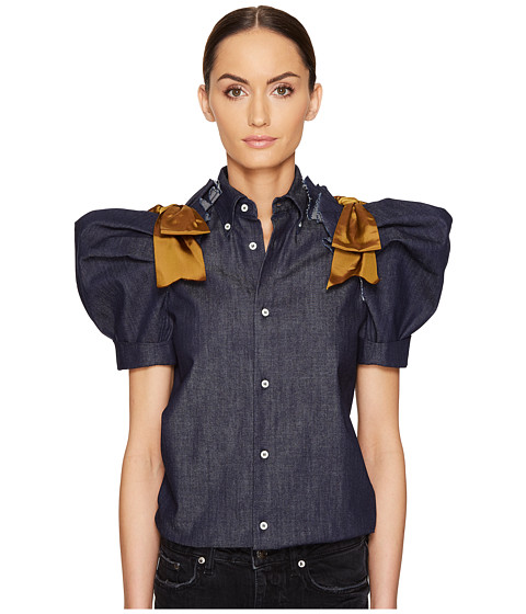 Imbracaminte Femei DSQUARED2 Dark Wash Puff Short Sleeves Denim Shirt Blue