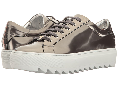 Incaltaminte Femei Salvatore Ferragamo Metallic Calfskin Slip-On Sneaker Argento