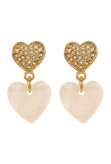 Accesorii Femei Carolee Pave Double Heart Drop Earrings GLDMOPCRY