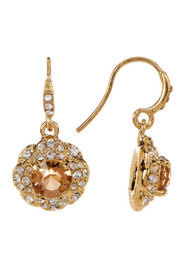 Accesorii Femei Carolee Pave Flower Drop Earrings GOLDTOPAZ