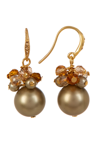 Accesorii Femei Carolee Cluster Simulated Pearl Drop Earrings GOLDMULTI