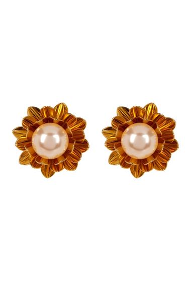 Accesorii Femei Carolee Simulated Pearl Flower Clip-On Earrings GOLDPEACH