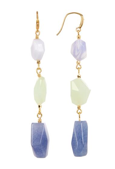 Accesorii Femei Carolee 12K Linear Mixed Shape Earrings GOLD PL- LT BLUE