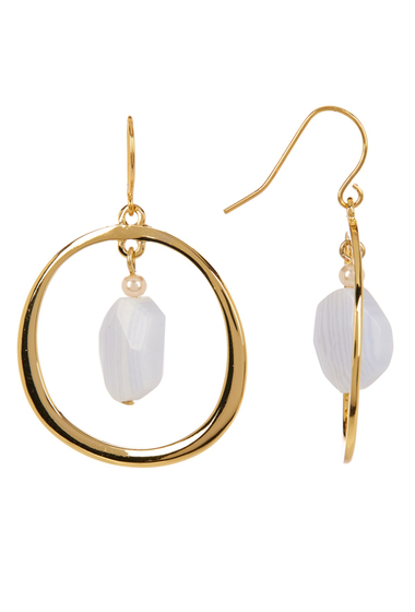 Accesorii Femei Carolee Gypsy Hoop Earrings GOLD PL- DK WHITE