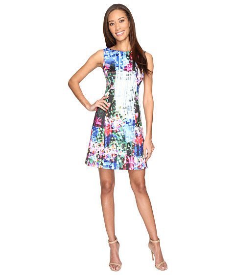 Imbracaminte Femei Adrianna Papell Printed Geo Corsage Seamed A-Line Dress Fuchsia Multi