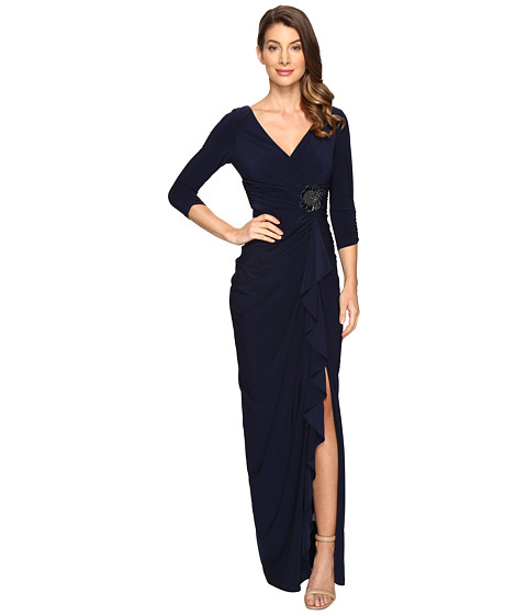 Imbracaminte Femei Adrianna Papell Long Sleeve Side Draped Jersey Gown wEmbellishment Midnight