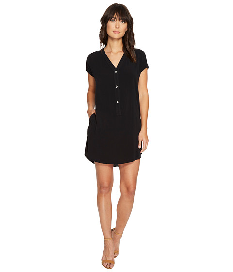 Imbracaminte Femei Allen Allen Short Sleeve Henley Dress Black