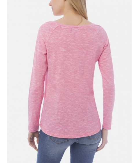 Imbracaminte Femei US Polo Assn LONG SLEEVE LACE UP SPACE DYE JERSEY TEE CORAL RIBBON