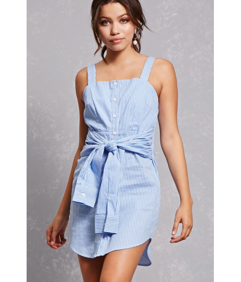 Imbracaminte Femei Forever21 Striped Tie-Waist Shirt Dress Light bluewhite