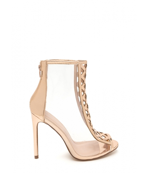 Incaltaminte Femei CheapChic Clear Choice Latticed Metallic Heels Rosegold