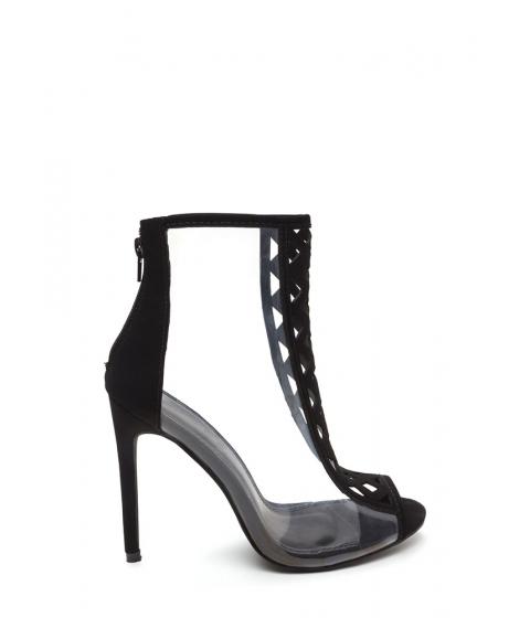 Incaltaminte Femei CheapChic Clear Choice Latticed Caged Heels Black